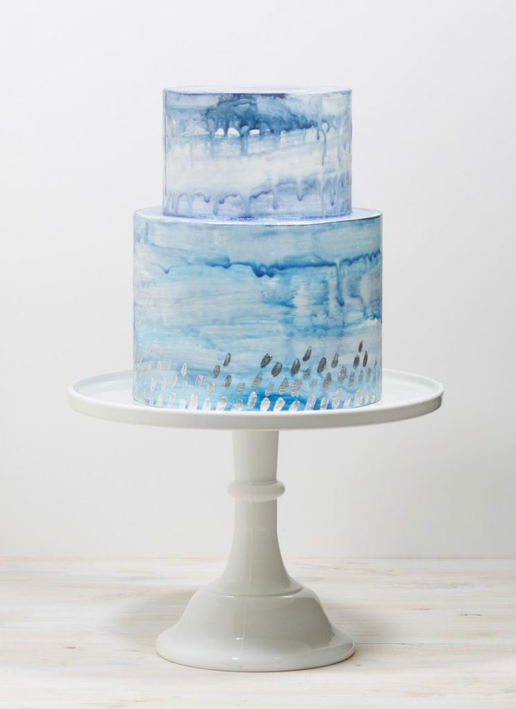 sapphire and silver wedding cake