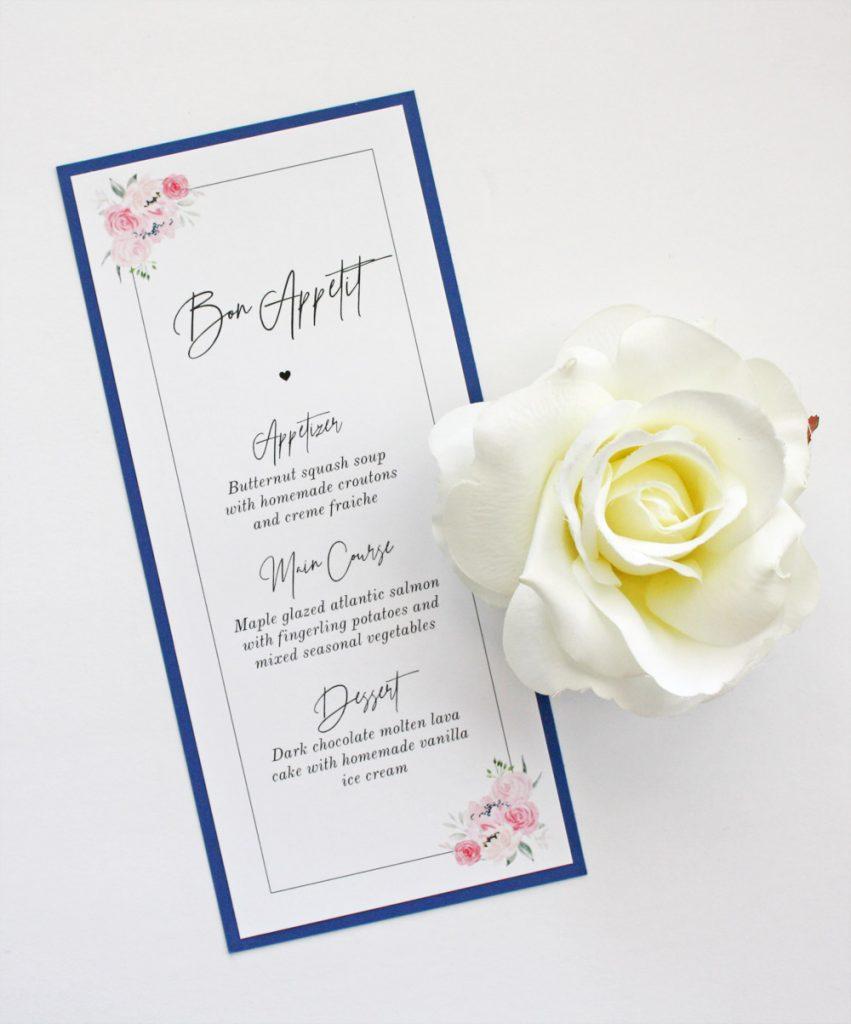 sapphire silver and blush wedding invitation
