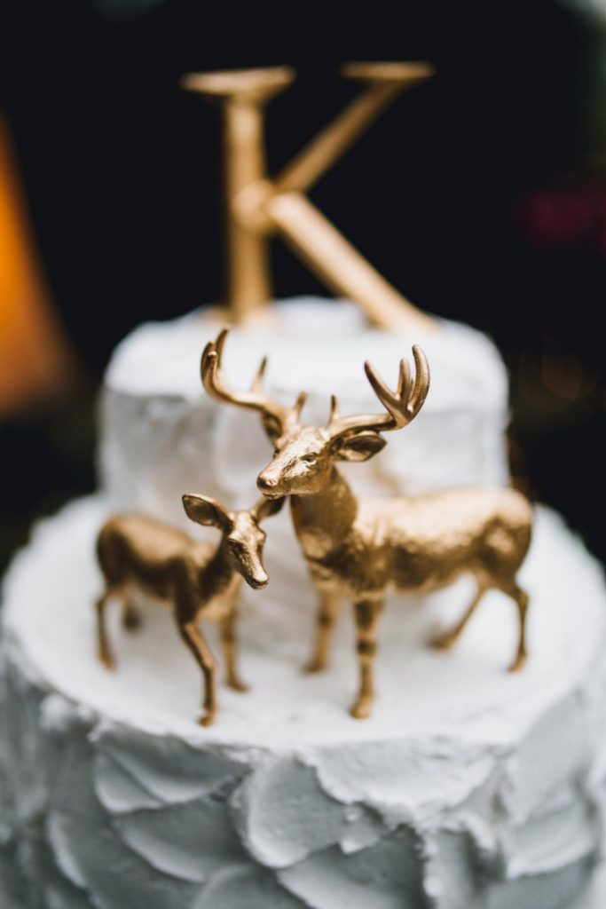 buck and doe gold cake topper