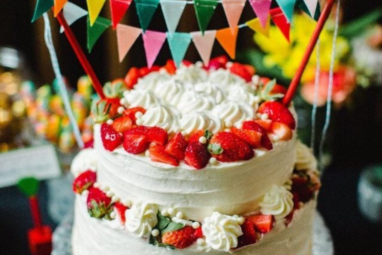 rainbow bunting cake topper