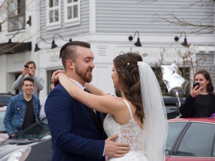 Bride and groom host drive-thru wedding reception
