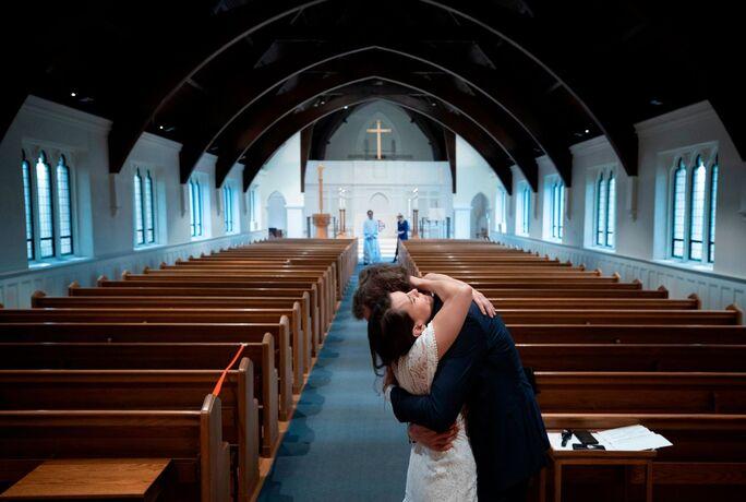 Empty church for COVID wedding