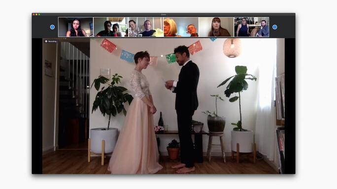 Recorded Zoom wedding ceremony