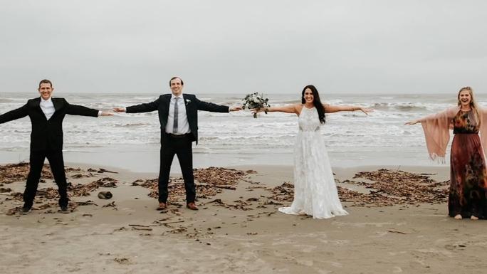 Social distance wedding at the beach