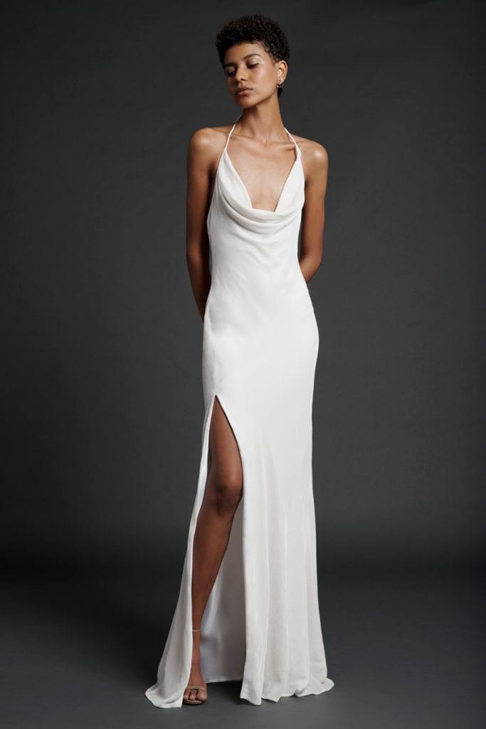 halter neck cowl cushnie wedding gown