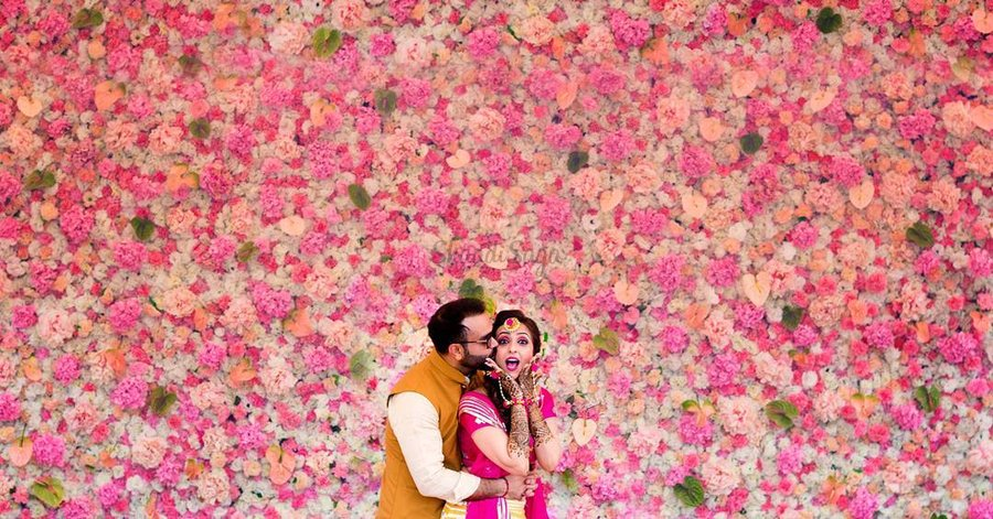 floral wall wedding photo