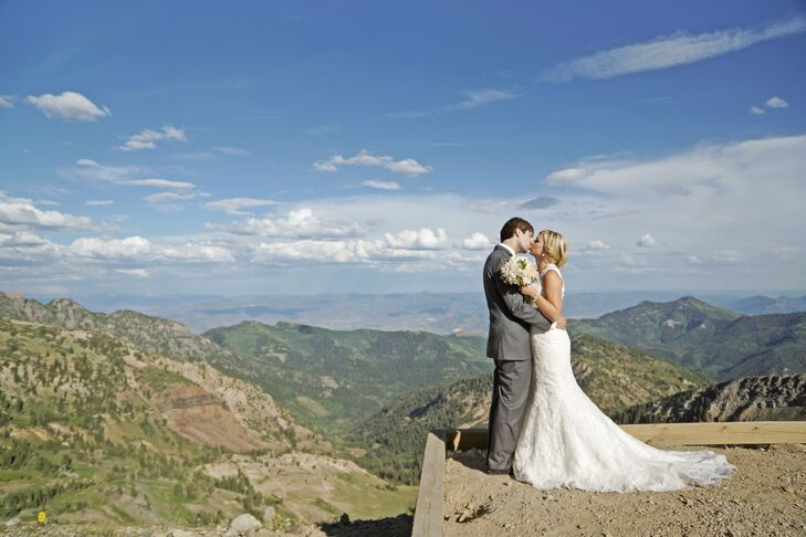 mountain cliff wedding photo