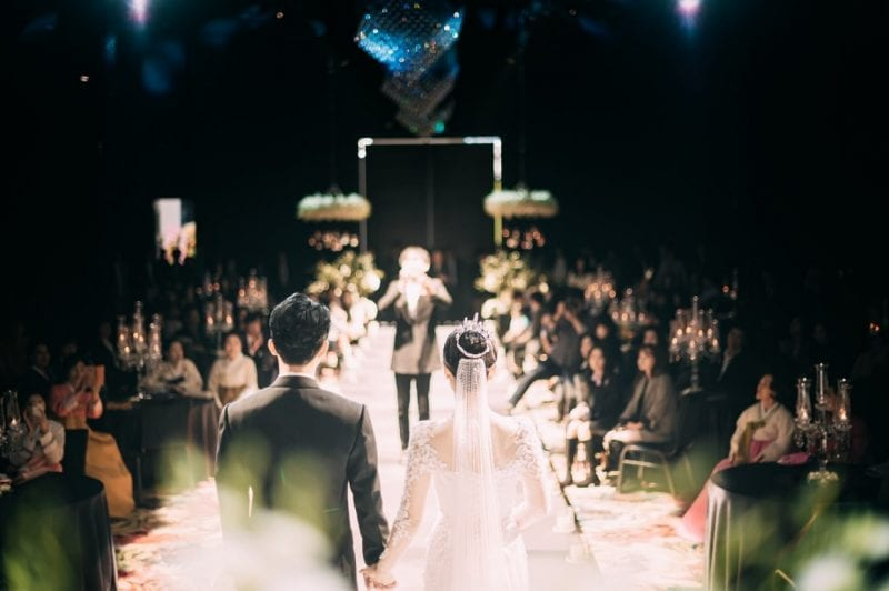 wedding couple walking down the isle