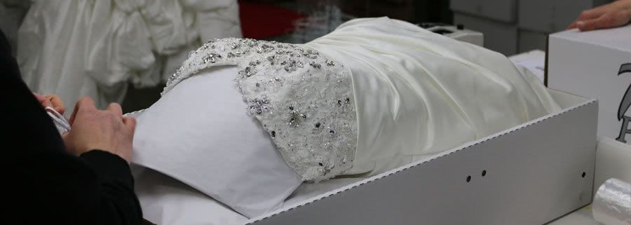 Preparing a wedding dress for cleaning