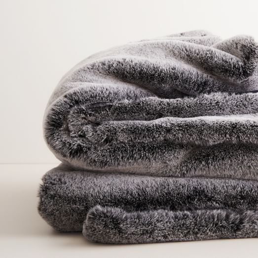 West Elm Faux Fur Chinchilla Throw