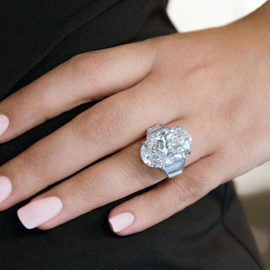 Giant oval diamond engagement ring