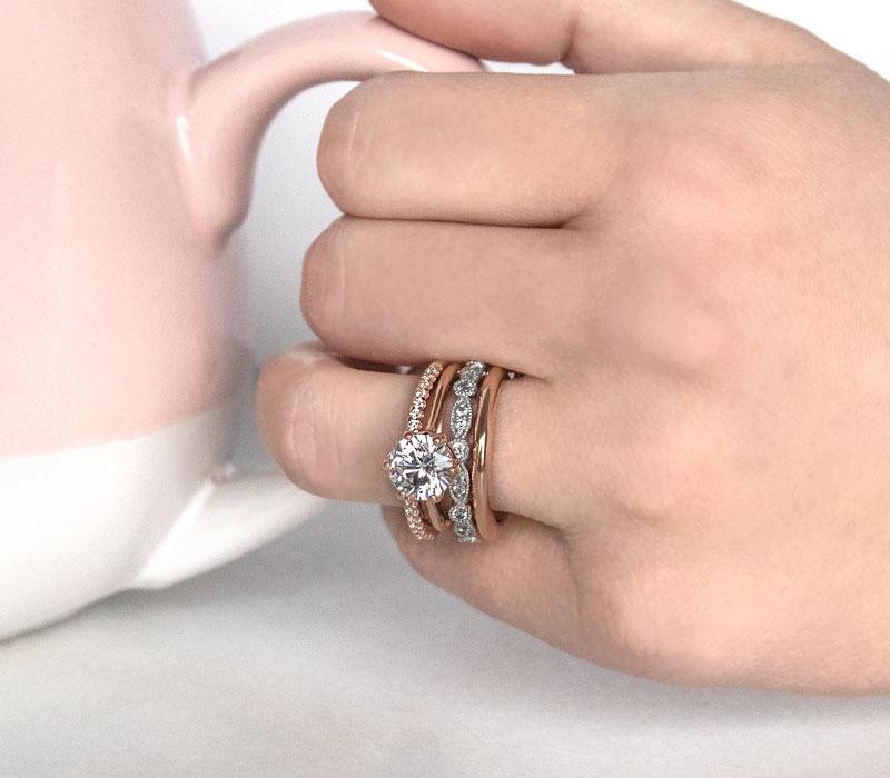 Stacked mixed metal wedding rings