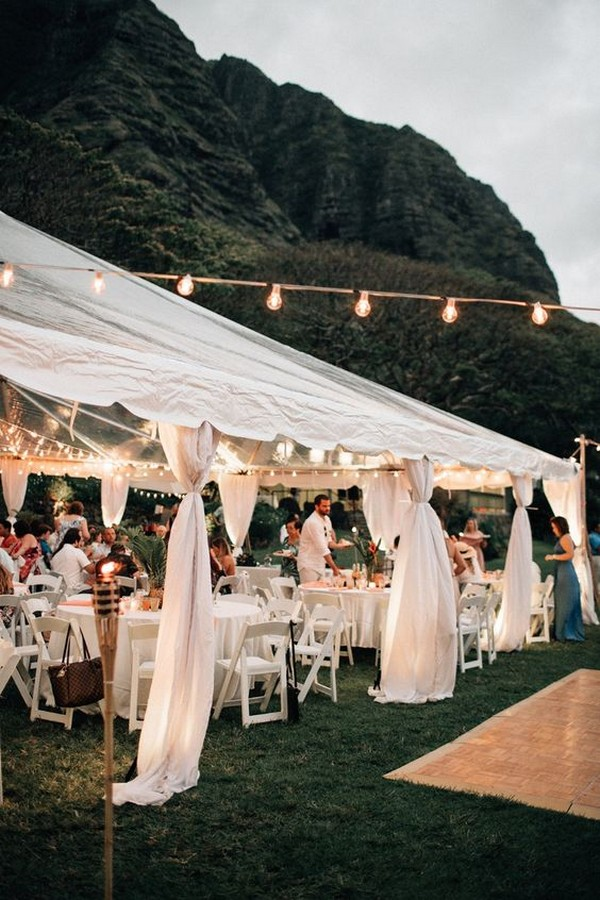 Outdoor tent wedding celebration