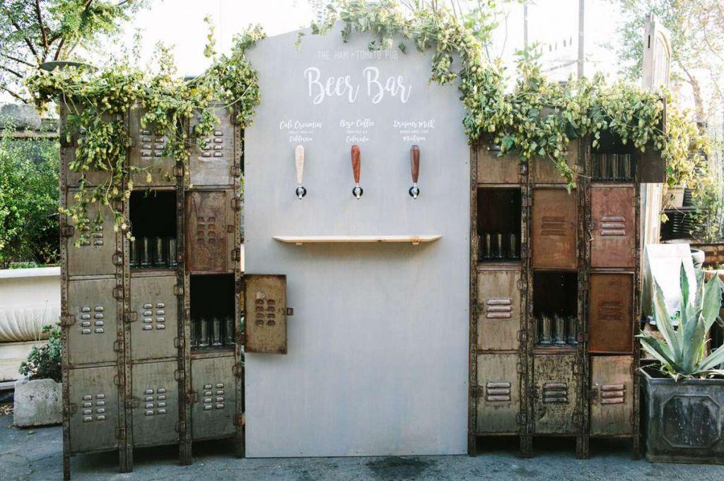 Beer tasting bar at wedding reception