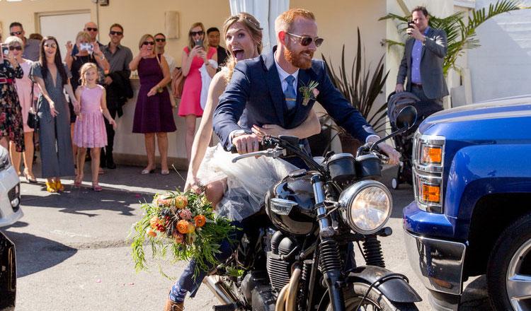 Motorcycle reception exit