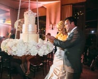 Wedding cake suspended from the ceiling