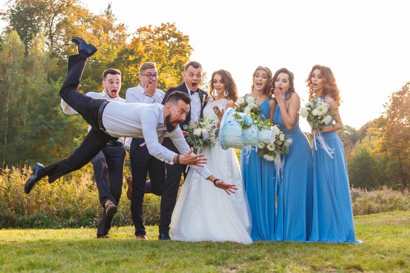 Groomsmen trips with the wedding cake