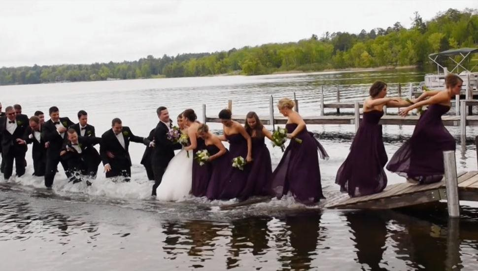 wedding party falling into water