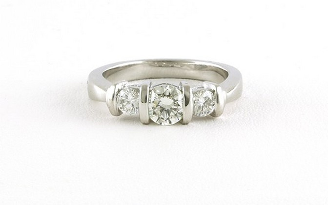 3 stone bar setting engagement ring