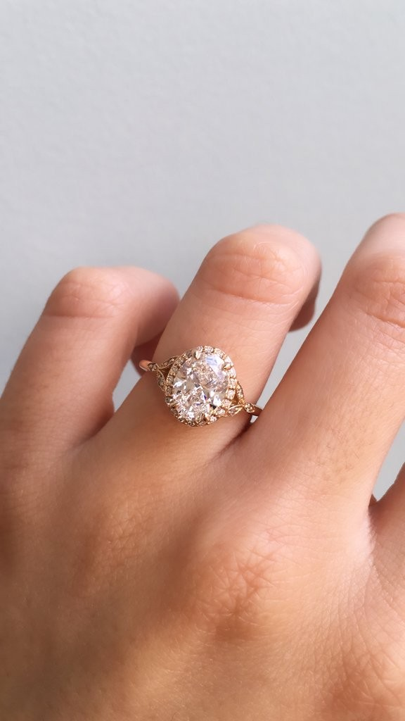 Vintage-inspired oval engagement ring
