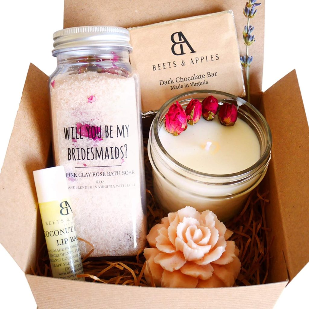 Will you be my bridesmaid Gift box full of deep relaxation and long-lasting rejuvenation spa items, candle