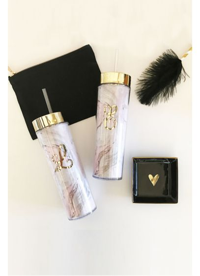 Photo of two Personalized Pink Marble Tumbler with black satchel and black feather.