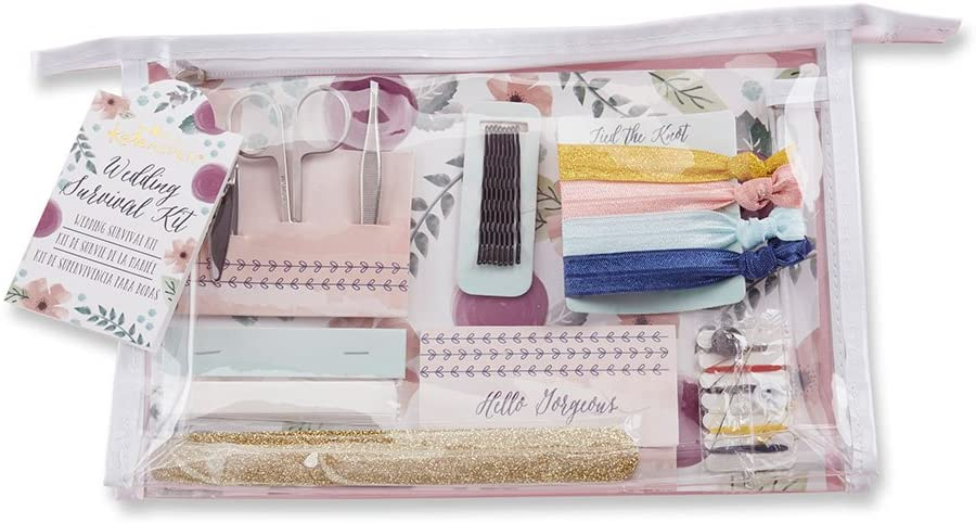 Clear zipper bag with floral print filled with wedding day survival kit items.
