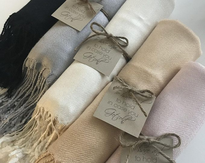4 pashmina scarfs with custom will you be my bridesmaid tags.