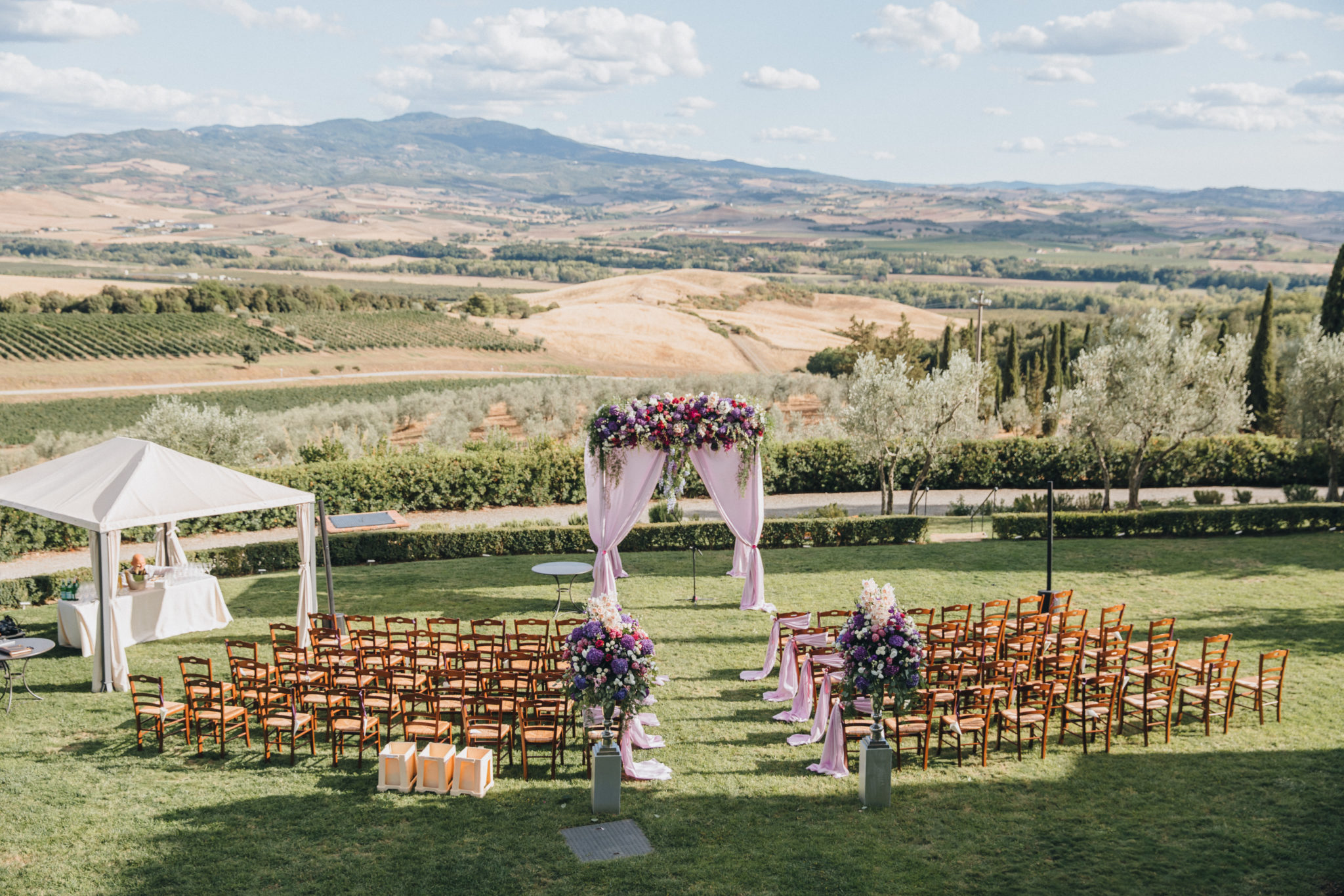 beautiful outdoor wedding ceremony set up wedding ceremony area on the hillside in Tuscany
