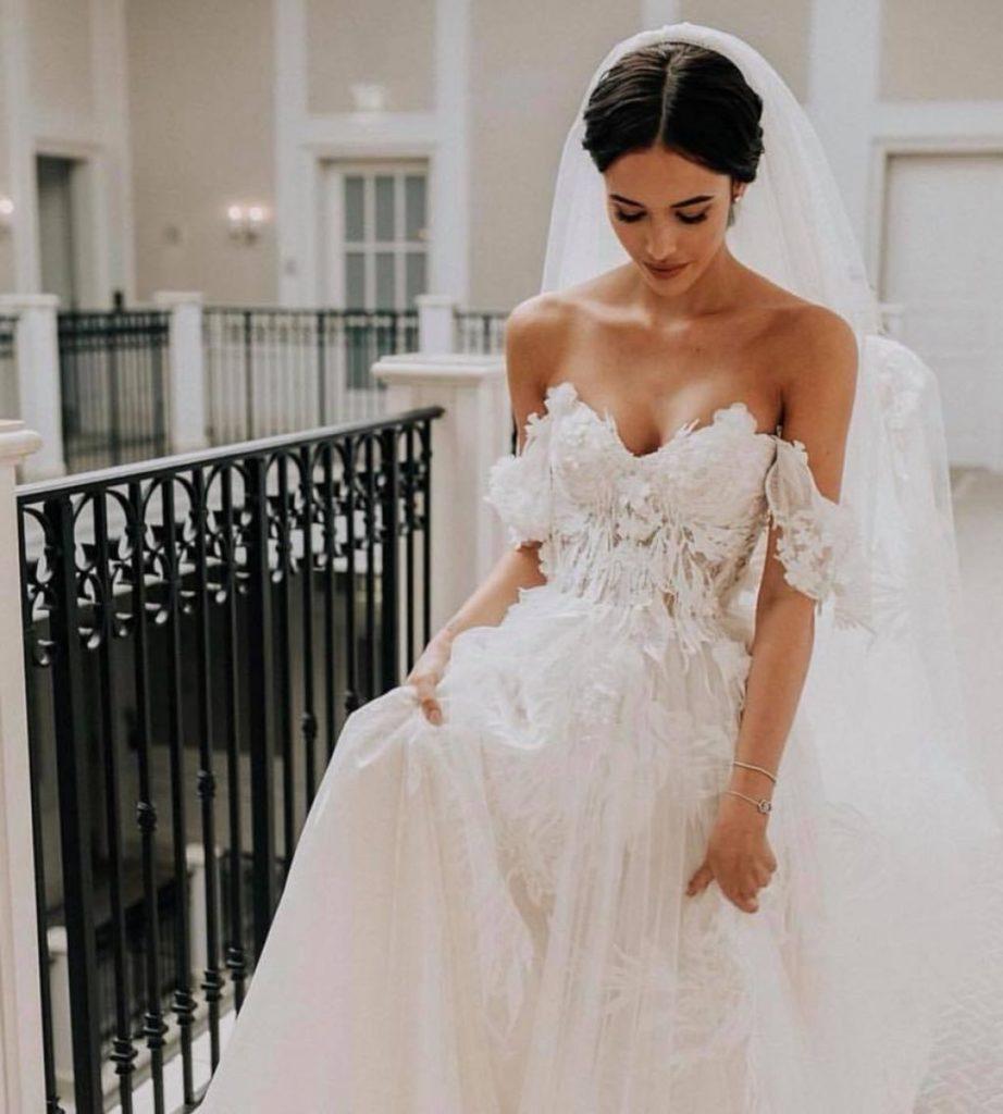 Beautiful bride wearing Riki Dilal Juliet wedding dress